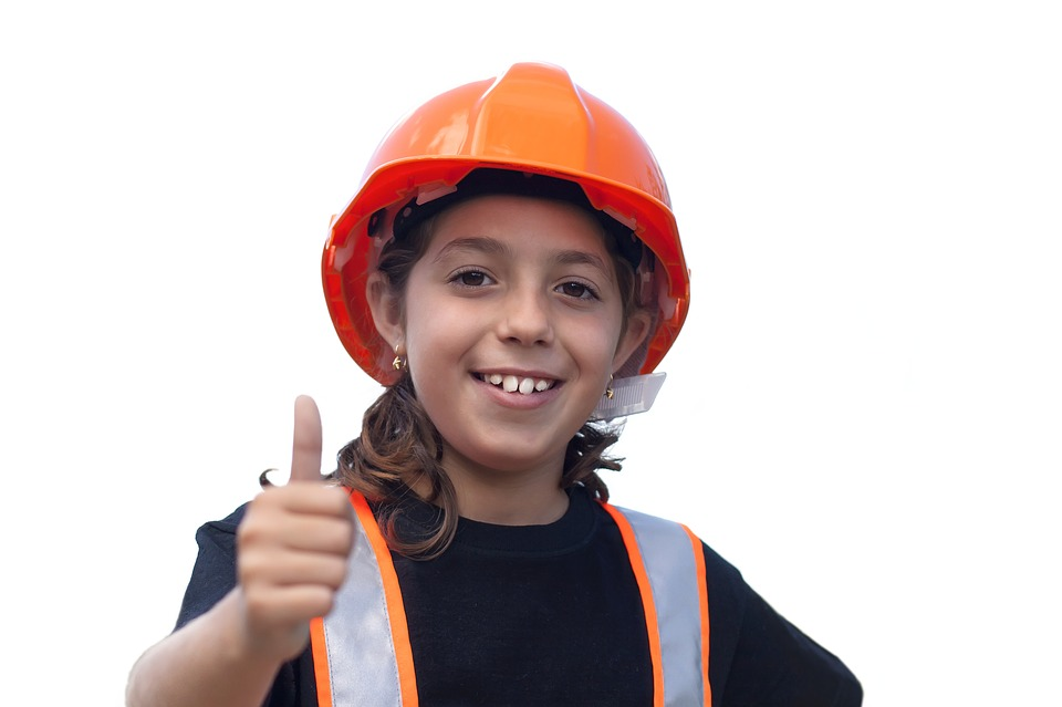child wearing work safety clithing